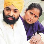Harpal Singh with his wife in 2002